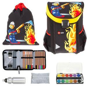Schulranzen Jungen LEGO Easy 6 Teile Set Ranzen Schultasche Sportbeutel Mäppchen gefüllt + Regenhülle Trinkflasche und Farbkasten City Fire Feuerwehr