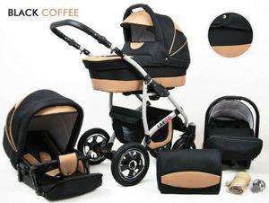 Kinderwagen Largo Alu,3 in 1 -Set Wanne Buggy Babyschale Autositz mit Zubehör Kaffe