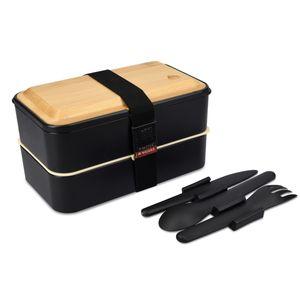 2x Bento Box Lunch Box mit Besteck und Bambus Deckel