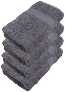 4er Pack Handtücher 50 x 100 cm, Farbauswahl:Silbergrau
