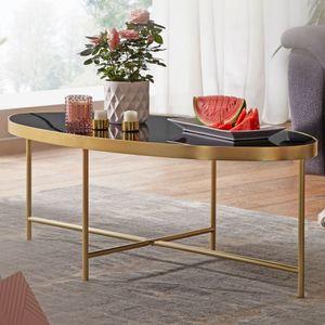 WOHNLING Design Couchtisch Glas Schwarz - Oval 110 x 56 cm mit Gold Metallgestell   Großer Wohnzimmertisch   Lounge Tisch Glastisch
