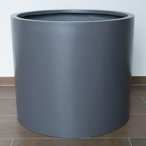 Pflanzkübel Fiberglas, zylindrisch D60xH50cm Anthrazit-Metallic, Farbe:Anthrazit Metallic