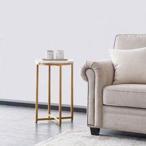 Beistelltisch rund Ø 40 x H 62cm, gold- Metallrahmen und Holz tischplatte, Nachttisch Couchtisch,Marmorstreifen,Goldener Rahmen