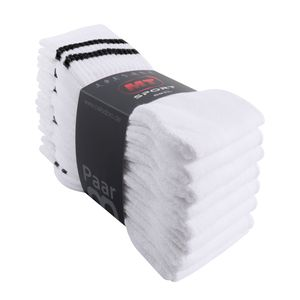 8 Paar MT® Sport- und Freizeitsocken Weiß mit schwarzen Streifen-39-42