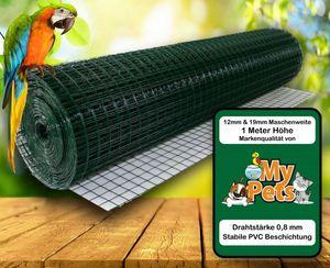 Volierendraht Grün 1 x 25 Meter 12 x 12 mm Drahtgitter Verzinkt Drahtzaum Maschendraht Draht Voliere