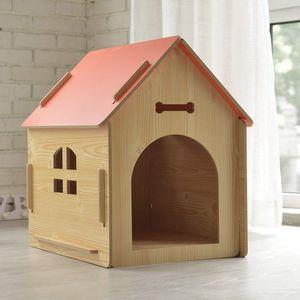 Hundehütte aus Holz I Hunde-Haus für Drinnen und Draußen I Schlafplatz für Haustiere I Wetterfest und Kratzfest I Verschiedene Größen und Farben (XL (80 x 55 x 74 cm), Style 2)