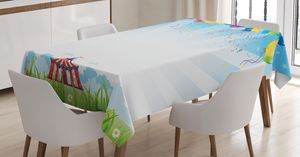 ABAKUHAUS Blume Tischdecke, Ballon Clear Sky Reise, Für den Inn und Outdoor Bereich geeignet Waschbar Druck Klar Kein Verblassen, 140 x 200 cm, Mehrfarbig