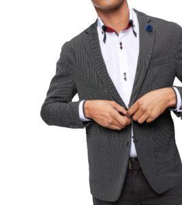 bruno banani 2-Knopf-Sakko galante Anzug-Jacke Herren Jackett mit abnehmbarem Anstecker Schwarz-Weiß, Größe:56