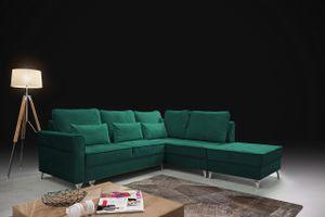 Polsterecke HILTON Grün mit Bettkasten Sofa Couch Schlafecke L-förmig Ecksofa