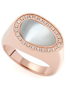 Leonardo 019642 Damen Ring Amisa Edelstahl Rose weiß 56 (17.8)