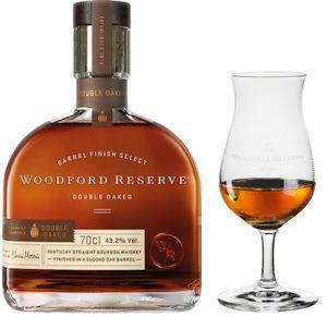 Woodford Reserve Double Oaked Kentucky Straigth Bourbon Whiskey + RITZENHOFF Nosing Glas mit WR Branding   43,2 % vol   0,7 l