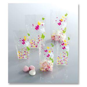 Folia Zellglasbeutel mit farbigem Frühjahrsdruck, 145x235mm, transparent (8er Pack)