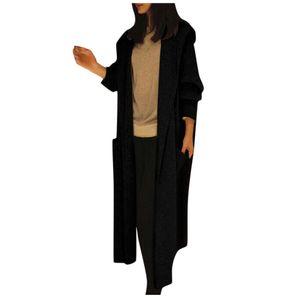 Übergroße Langarm-Strickjacke für Damen Strickjacke Casual Outwear Coat Jacket Größe:XXL,Farbe:Schwarz