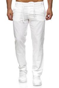Reslad Herren bequeme Baumwollhose Leinenhose Optik Strandhose RS-3000 Weiß M