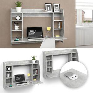 Vicco Wandschreibtisch Schreibtisch Bürotisch Max Beton USB-Ladestation USB-Hub