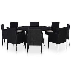 Gartenmöbel Essgruppe 8 Personen ,9-TLG. Terrassenmöbel Balkonset Sitzgruppe: Tisch mit 8 Stühle mit Kissen Poly Rattan Schwarz❀9883