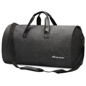 Soarpop Anzugtasche 2-in-1 Kleidersack Umhängetaschen Herren Reisetasche Groß, Schwarz, 45L (H9983DGY)