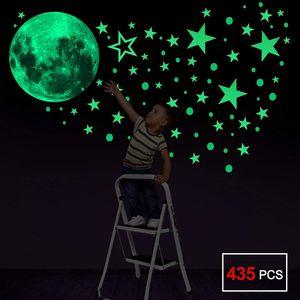 Leuchtsticker Wandtattoo, 435pcs Leuchtsterne Punkten Wandsticker Wandaufkleber DIY für Schlafzimmer Jungen Mädchen Kinderzimmer