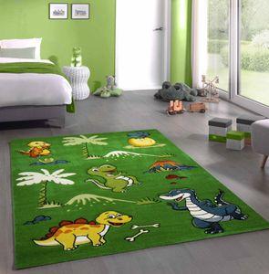Kinderteppich Dinosaurier Kinderzimmerteppich Dinos grün Größe - 120 cm Rund