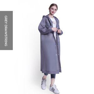 Mode Nicht wegwerfbare EVA Frauen Regenmantel Verdickter Regen Poncho Mantel Erwachsene Transparente Outdoor Hoodie Regenbekleidung (Kordelzug, Grau)