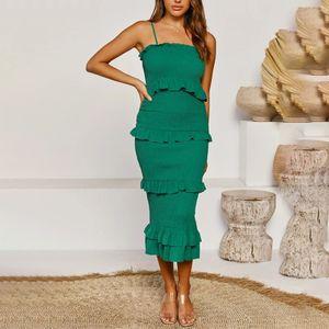 Damen y Kleid Sommer Urlaub Strand Gruppe Hosenträger Sommerkleid,Farbe: Grün,Größe:L