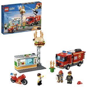 LEGO 60214 City Feuerwehreinsatz im Burger-Restaurant, Feuerwehr-Spielzeug ab 5 Jahre mit Feuerwehrauto und Geräten, Konstruktionsspielzeug