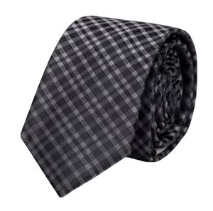 Schlips Krawatte Krawatten Binder 6cm schwarz und anthrazit kariert Fabio Farini