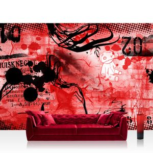 Vlies Fototapete no. 0036 - 200X140 cm - Red Graffiti Wall Kindertapete Tapete Kinderzimmer Kindertapete Teen Jugendzimmer Graffiti rot liwwing (R)