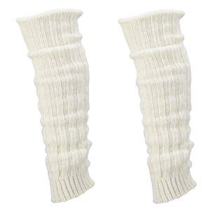 krautwear® 2 Paar Stulpen mit Alpakawolle ca. 40cm Legwarmers Grobstrickstulpen (2x wollweiss)