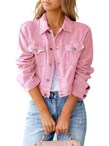 Damen kurze Jeansjacke kurzes schmales Oberteil,Farbe: Rosa,Größe:M