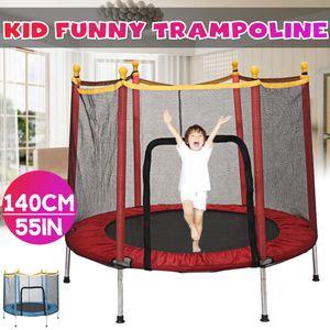 Meco Trampolin Kinder Indoortrampolin Jumper 140 cm Randabdeckung Stangen Gepolstert mit Sicherheitsnetz Rot