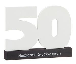 Gästebuch als Zahl 50 zum Beschriften Glückwunschkarte aus Holz in Weiß