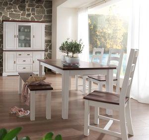 Esstisch 160x90 Landhaus Pinie massiv weiss nussbaum Porto