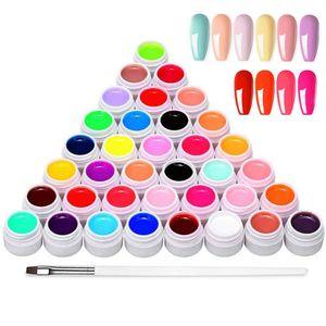 Anself 36 Farben UV farbgel, UV Gel Set gelfarben für nägel, Nail Art Farbgel Set, gel nägel farben, Art Pigment Set Nagelpigment UV Gel Set  Nagellack Nail Polish für Nail Art Nagel-Design Maniküre-Sets