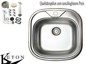Edelstahl Einbauspüle 46cm x 48cm Küchen Spüle Küchenspüle Edelstahlspüle Becken rechteckig  Spülbecken Waschbecken Ablaufzubehör-Set von Keton  mit HAHNLOCH