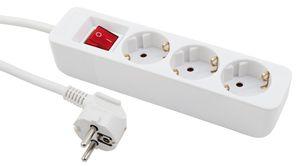 3-fach Steckdosenleiste McPower mit Schalter, Einsteckschutz, 1,5m Zuleitung