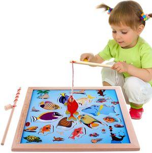 Magnetisches Holzpuzzles Angeln Spielzeug für 3 4 5 Jährige Kind Baby Kleinkind Jungen Mädchen Magnet Spielzeug mit 11 Fischen und 2 Magnetpol