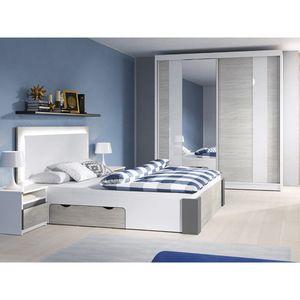 Schlafzimmer-Set Bettgestell Kleiderschrank Nachttisch Helios II 180 (Weiß/Kathult+Grau)