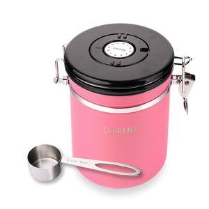 Schramm® Kaffeedose 1500 ml in 10 Farben mit Dosierlöffel Höhe: 15cm Kaffeedosen Kaffeebehälter aus Edelstahl , Farbe:Pink