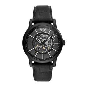 Emporio Armani AR60008 Meccanico Automatic Skeletal Black Leather Herrenuhr