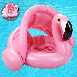 Flamingo Baby Schwimmring Baby Schwimmhilfe Baby Pool Schwimmring mit Sonnenschutz – Aufblasbarer Schwimmreifen für Kinder