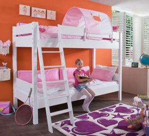 Etagenbett STEFAN Hochbett Stockbett Kinderzimmer Weiß Stoffset Rosa/Weiß