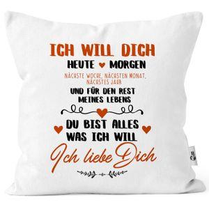 Kissen-Bezug Ich will dich heute und morgen ich liebe dich Geschenk Valentinstag Liebe Spruch Kissen-Hülle Deko-Kissen Baumwolle MoonWorks® weiß unisize