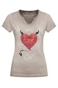 Hangowear Trachtenshirt kurzarm grau rot Engerl 007874 Größe: L