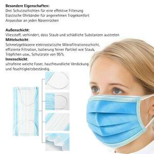 OLOEY®100 Mundschutz Gesicht Atemschutz Maske Einweg Staubmaske Stück Mundmaske Bakterien