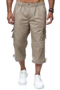 Herren 3/4 Cargo Shorts Freizeit Hose Trekking Pants mit Seitentaschen, Farben:Beige, Größe Shorts:XXL