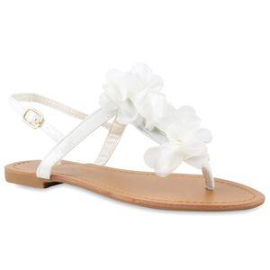 Mytrendshoe Modische Damen Sandalen Blumen Zehentrenner Sommer Schuhe 814911, Farbe: Weiß, Größe: 40