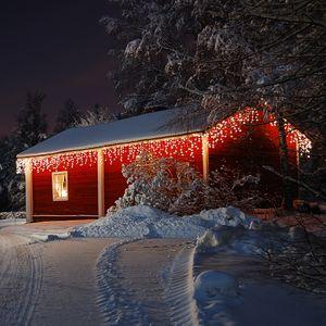 Deuba LED Regen Lichterkette Lichternetz Lichtervorhang Beleuchtung Außen Innen, Variante:200 LEDs