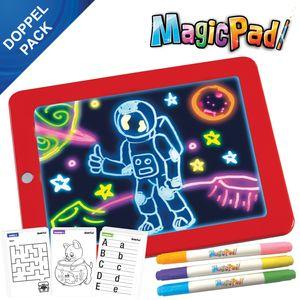 Mediashop Magic Pad – Zaubertafel mit 6 Neonfarben und 8 Leuchteffekten – Kreative Beschäftigung für Kinder, auch unterwegs – Maltafel mit 30 Schablonen, abwischbar – 2 STK.