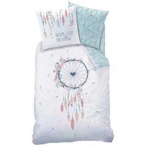 Traumfänger Bettwäsche Set 80x80 + 135x200 · Bohemian Style, Dreamcatcher, Federn & Blumen · Biber Bettwäsche für Mädchen / Frauen · 100% Baumwolle